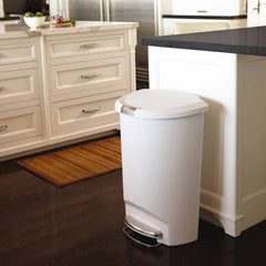 50L semi-round plastic step trash can - white - lifestyle in kitchen image