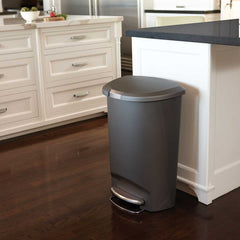 50L semi-round plastic step trash can - grey - lifestyle in kitchen next to island image