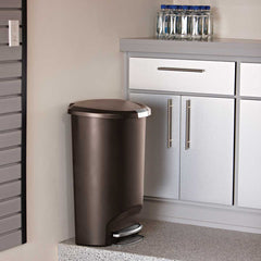 50L semi-round plastic step trash can - mocha - lifestyle in kitchen image