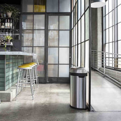 60L semi-round open can - brushed stainless steel - lifestyle in restaurant