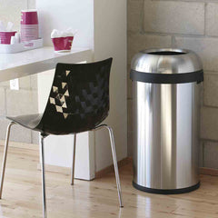 80L bullet open can- brushed stainless steel - lifestyle in cafe image