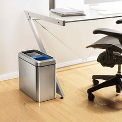 20L dual compartment slim open can - brushed finish - lifestyle next to desk