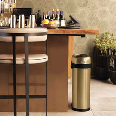 50L slim open can - brass stainless steel - lifestyle in restaurant