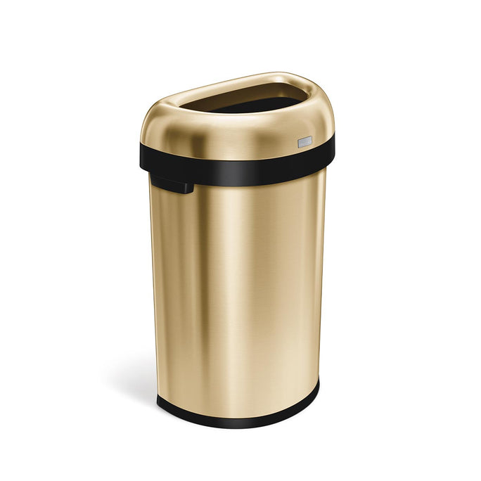 60L semi-round open can - brass stainless steel - 3/4 view main image