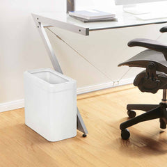 25L slim open can - white finish - lifestyle office next to desk