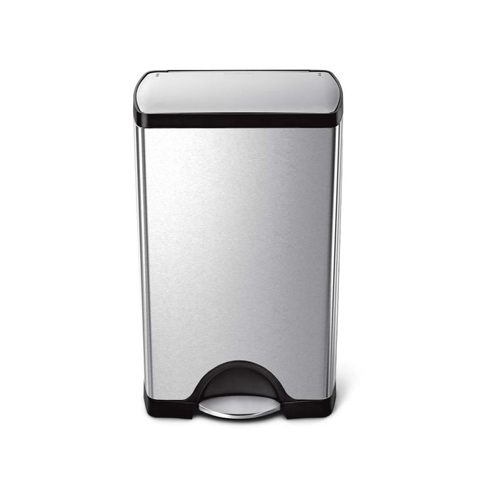 38L rectangular step can - brushed finish - front main image