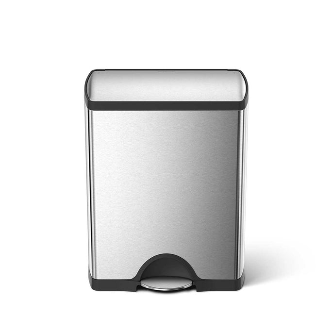 50L rectangular step can - brushed stainless steel - main image