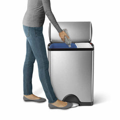 46L dual compartment rectangular step can - brushed stainless steel - lifestyle recycling image