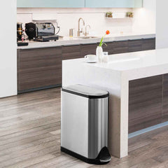 45L butterfly step can - brushed finish - lifestyle can in kitchen next to island