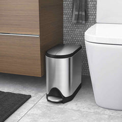 10L butterfly step can - brushed finish - lifestyle bathroom fits in tight space