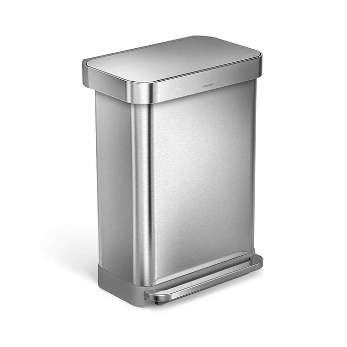 55L rectangular step can with liner pocket - brushed finish - main image