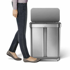 58L dual compartment rectangular step can with liner pocket - brushed stainless steel - lifestyle pedal image