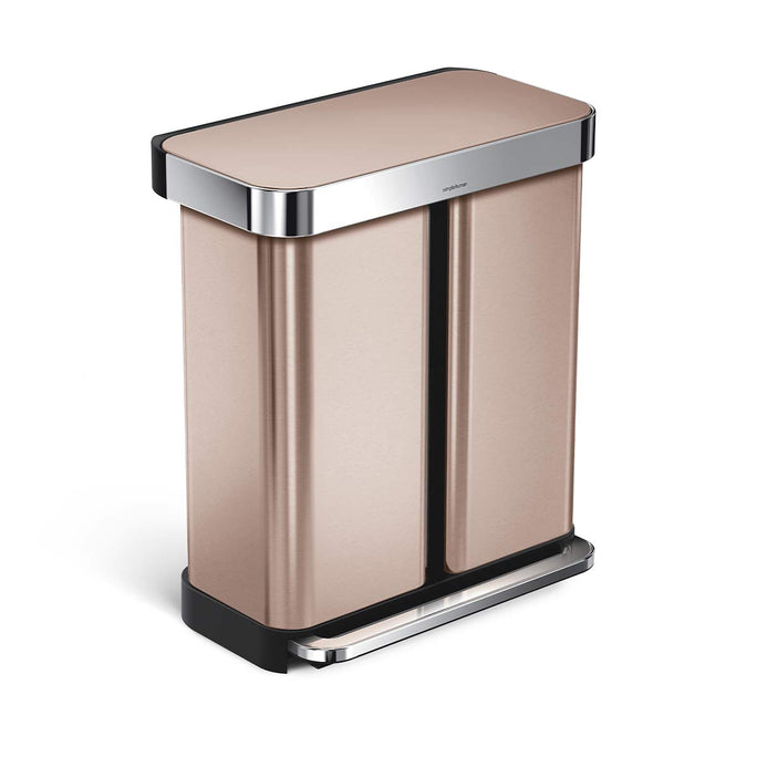 58L dual compartment rectangular step can with liner pocket - rose gold stainless steel - main image