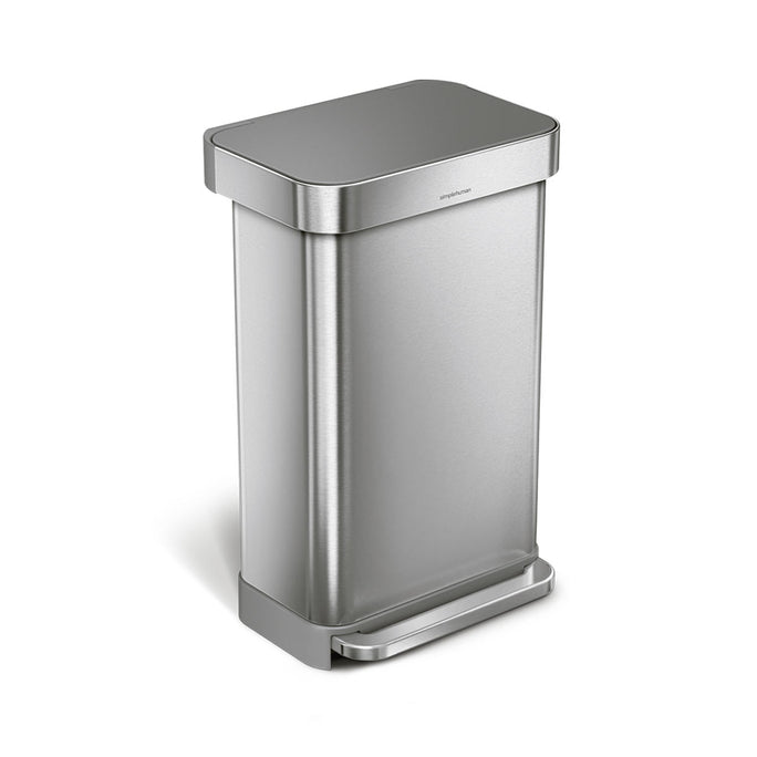 45L rectangular step can with liner pocket with plastic lid - brushed finish - main image