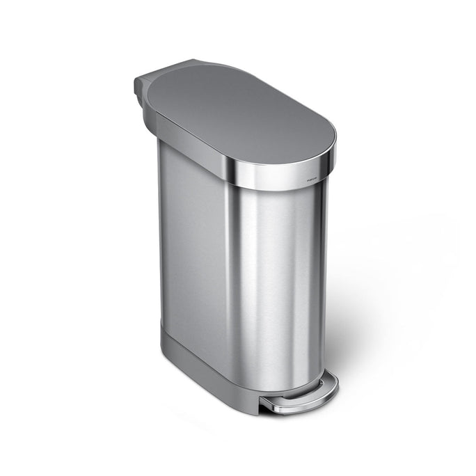 45L slim step can - brushed stainless steel with plastic lid - main image