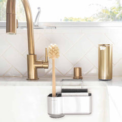 sink caddy - lifestyle attached to sink with brass fixtures