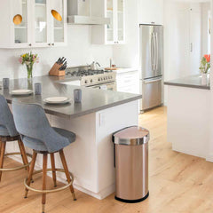 45L semi-round sensor can - rose gold finish - lifestyle end of kitchen counter