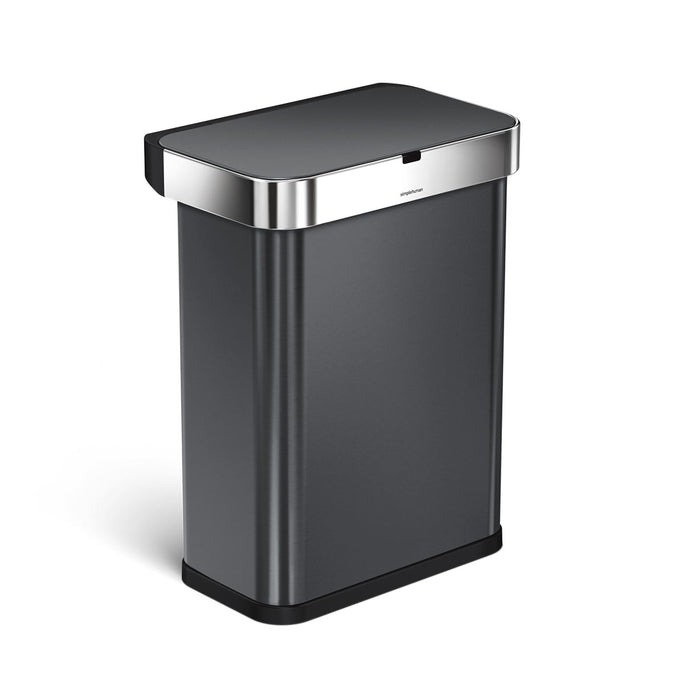 58L rectangular sensor can with voice and motion control - black finish - 3/4 view main image