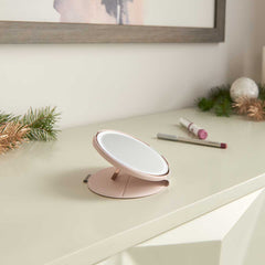 sensor mirror compact smart cover 10x - pink sand - mirror on counter with cosmetics
