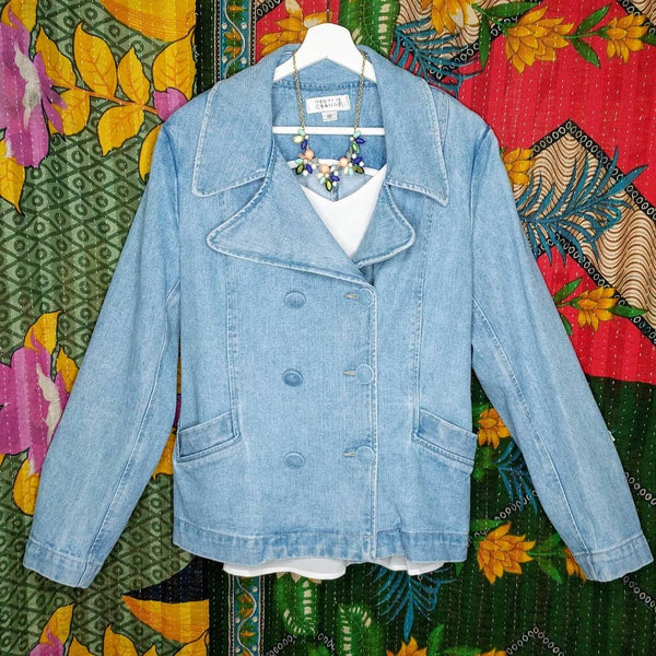 Vintage double breasted denim blazer, 80s/90s vibe