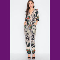 V-neck patterned jumpsuit / rompter