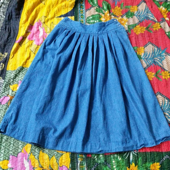 Vintage pleated denim skirt with side button detail