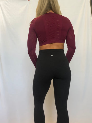 BAMN Maroon Long Sleeve Crop Top