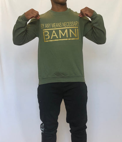 BAMN Military Green Crewneck Sweatshirt