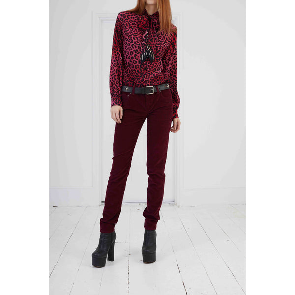Low Rise Super Skinny Leg Bordeaux Cord Bordeaux