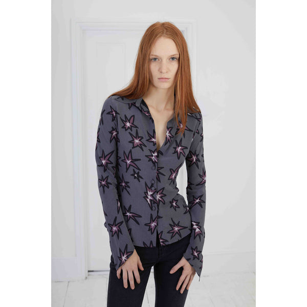 Explosions Mitred Sleeve Silk Shirt Washed Black