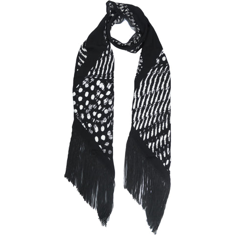 Guinea Blow Up Classic Skinny Fringed Scarf Black