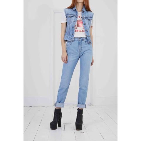 NON STRETCH High Rise Jeans Light Indigo