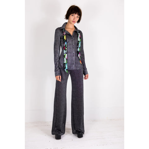 Silver Lurex Wide Leg Trouser
