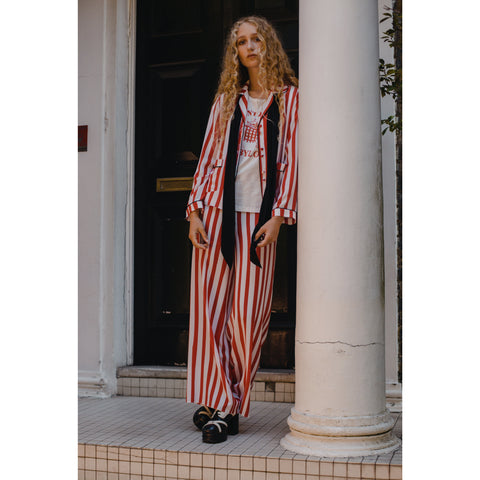 Red & White Pyjama Trouser Marquee Stripe
