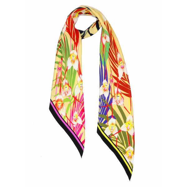 Monkey Orchid Classic Skinny Scarf Yellow