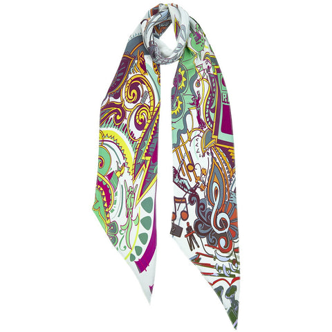 Music is Medicine Classic Skinny Scarf Ivory