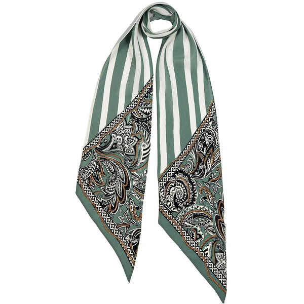Paisley Chains Classic Skinny Scarf Green