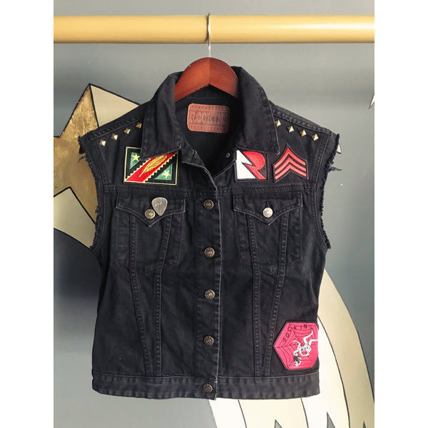 One-Off Customised Denim Sleeveless Jacket