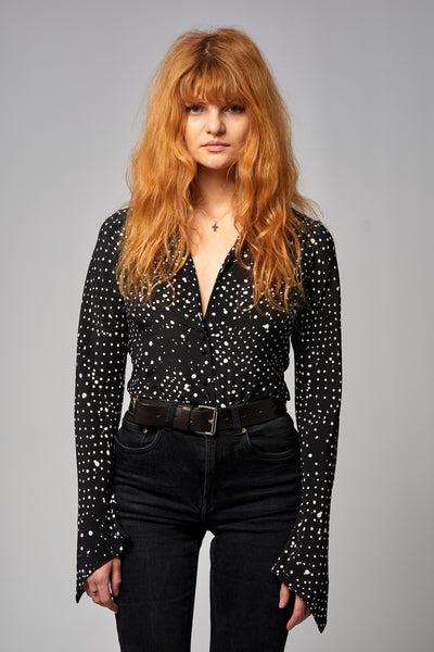 Mitred Sleeve Shirt Redlands Polka Black