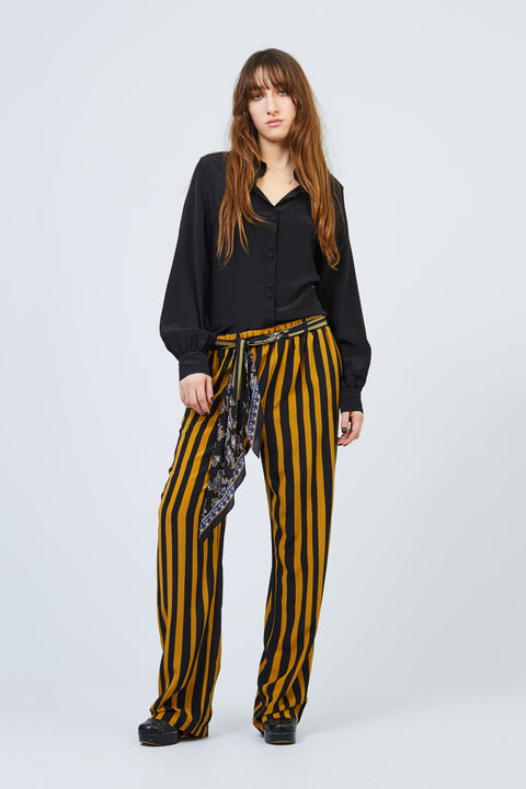 Marquee Stripe Black & Gold Loose Trouser