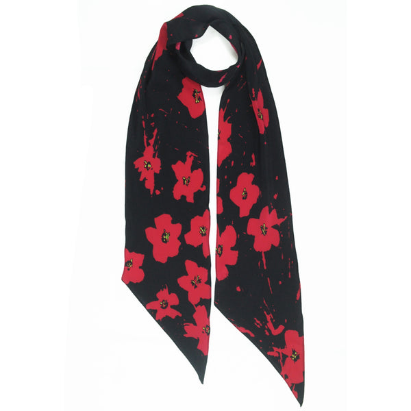 Splatter Flowers Classic Skinny Scarf Red