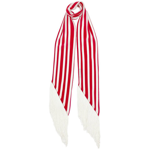 Stripy Classic Skinny Fringed Scarf Red & White