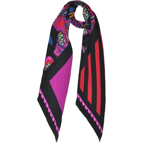 Pine Cone Paisley Classic Skinny Scarf Pink