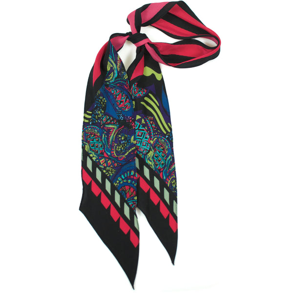 Pine Cone Paisley Super Skinny Scarf Pink