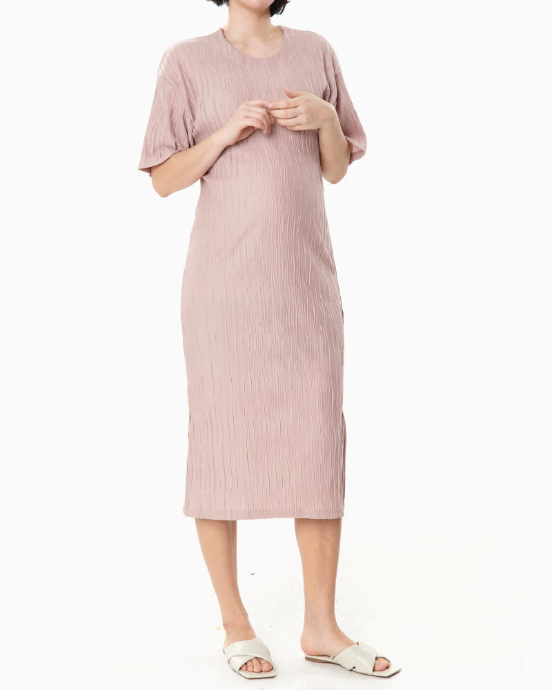 SWIRL PLEATED MIDI DRESS