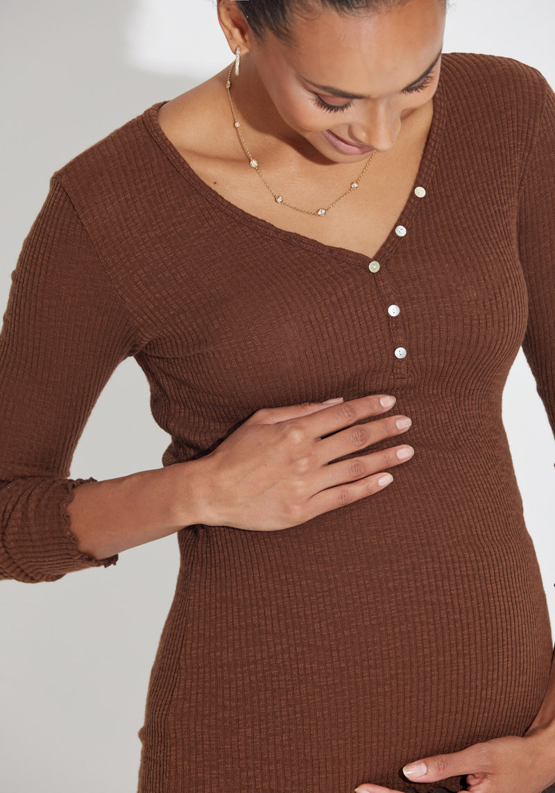 RIBBED MODAL NURSING TEE