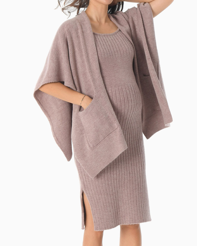 KNIT DRESS & SHAWL SET