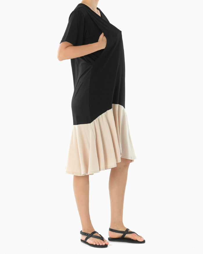 CONTRAST JERSEY NURSING DRESS