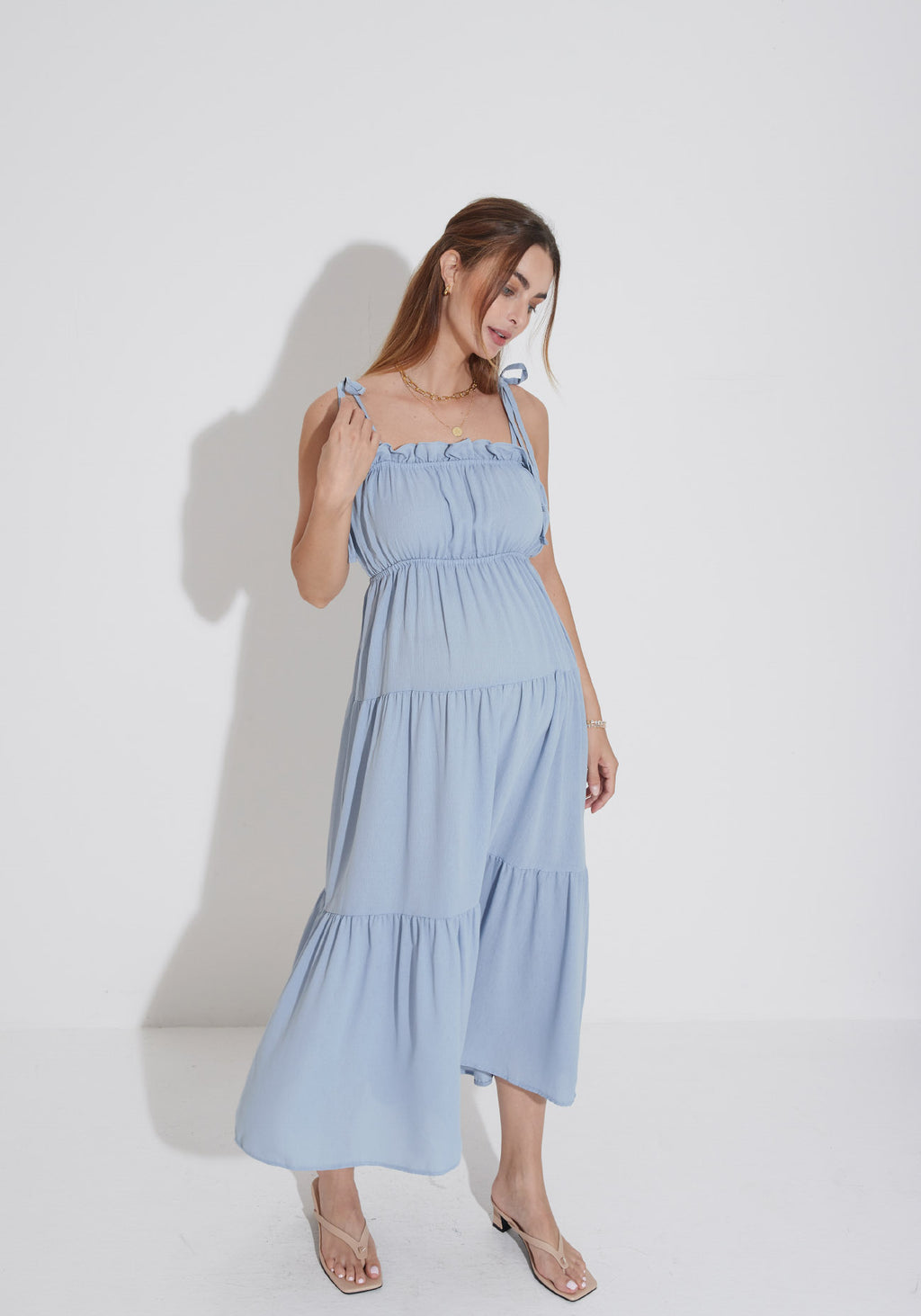 TIERED MAXI GAUZE DRESS