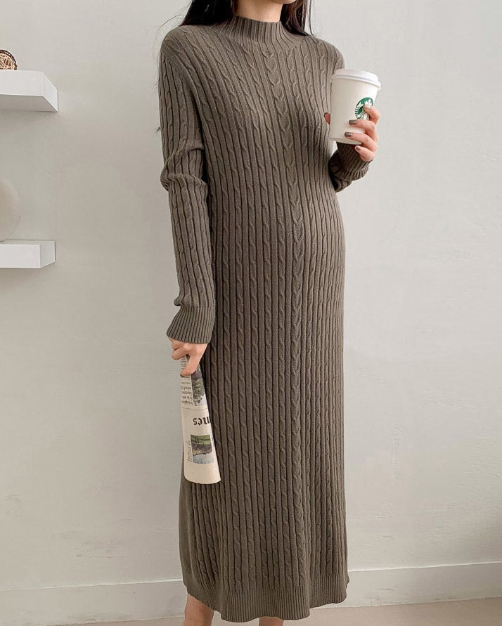 LONG CABLE KNIT DRESS